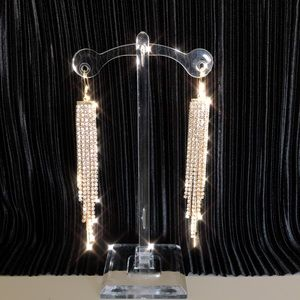 Rhinestone waterfall drop earrings in gold